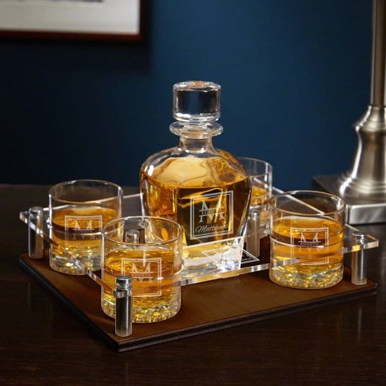 Personalized Whiskey Decanter and Tray Set with 4 Glasses