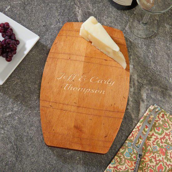 Wine Barrel Personalized Cheese Board