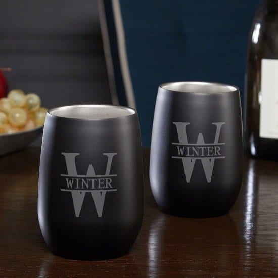 Pair of Stainless Steel Custom Stemless Wine Glasses