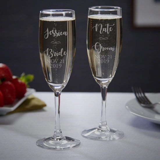 Bride and Groom Engraved Personalized Champagne Flutes