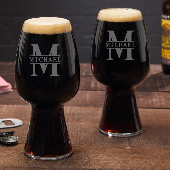 Set of Two Engraved Stout Glasses