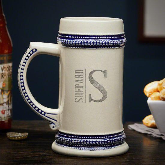 Engraved Ceramic Beer Stein