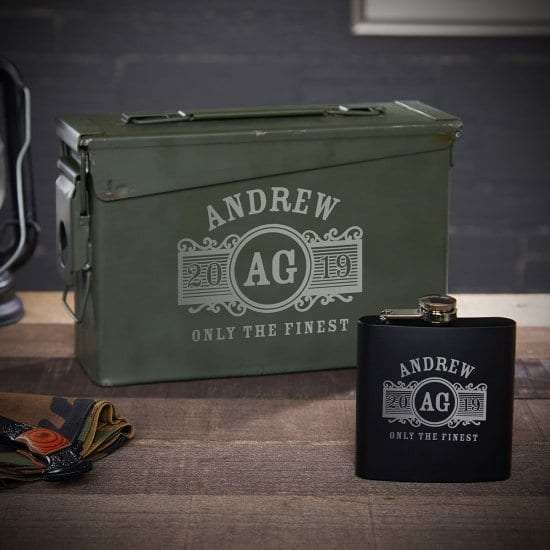 Personalized Ammo Can and Flask Gift Set