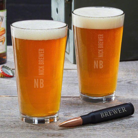 Custom Pint Glasses with Bullet Bottle Opener