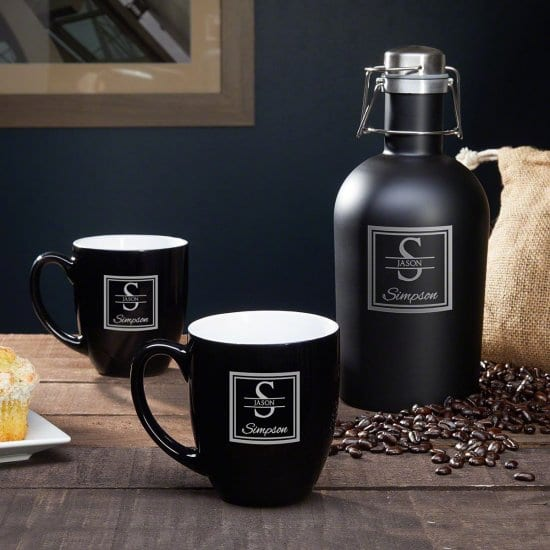 Set of Engraved Coffee Mugs with Coffee Carafe
