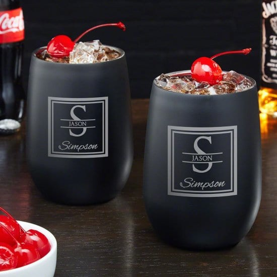 Set of Two Stainless Steel Drink Tumblers