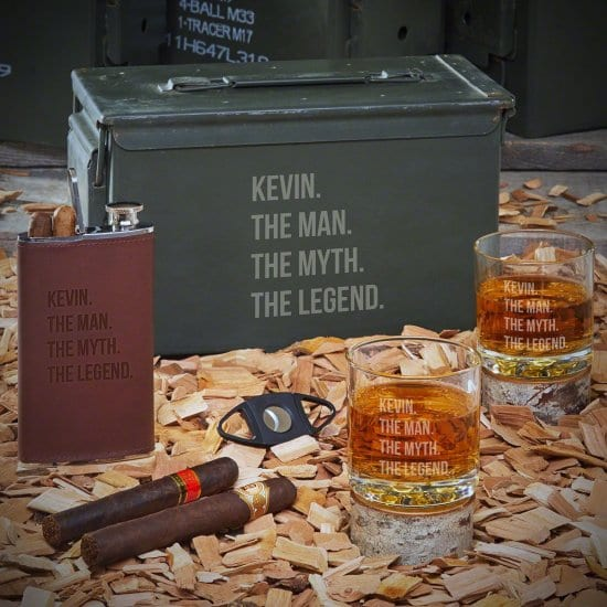 Manly Ammo Can Whiskey Set with Cigar Flask
