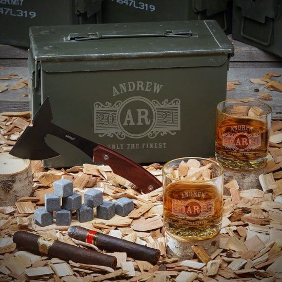 Ammo Can Set with Hatchet and Whiskey Glasses