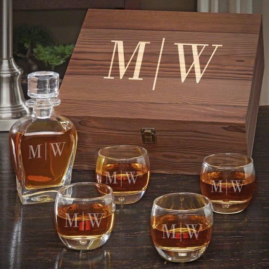 Engraved Whiskey Decanter Box Set
