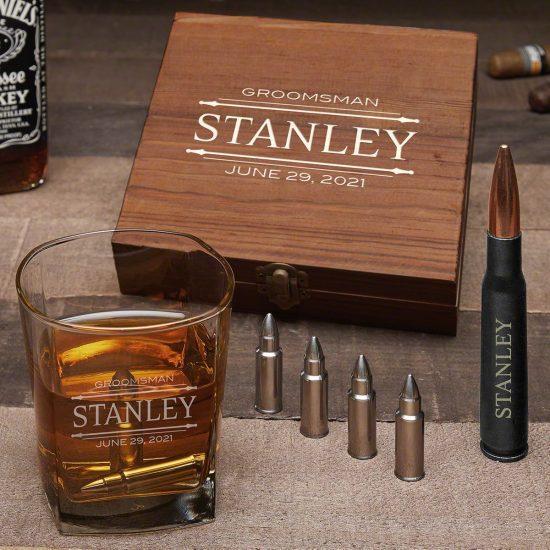 Custom Bullet Whiskey Stones Gift Set