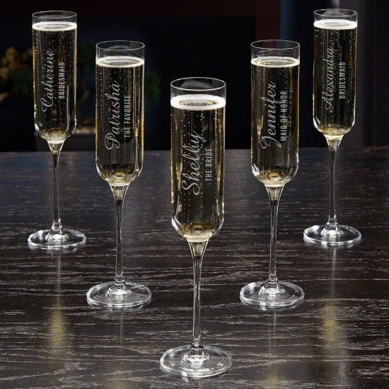 Set of 5 Personalized Champagne Flutes
