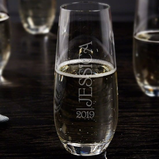 Engraved Stemless Champagne Flute
