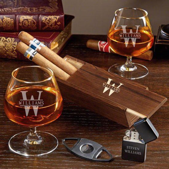 Custom Cognac and Cigar Gift Set for 2 Year Anniversary