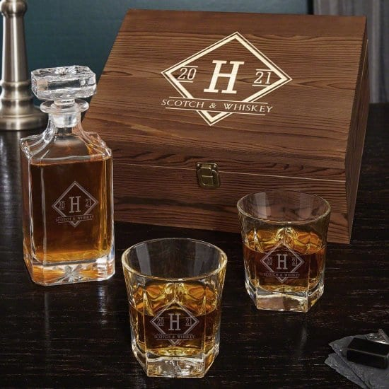 Engraved Decanter Box Set with Glasses