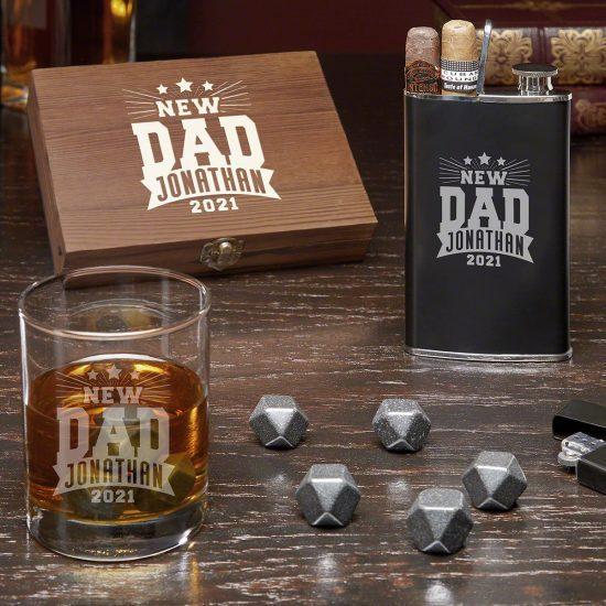 New Dad Whiskey and Cigar Set