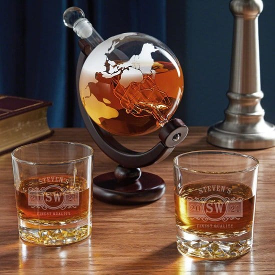Globe Decanter and Whiskey Glasses
