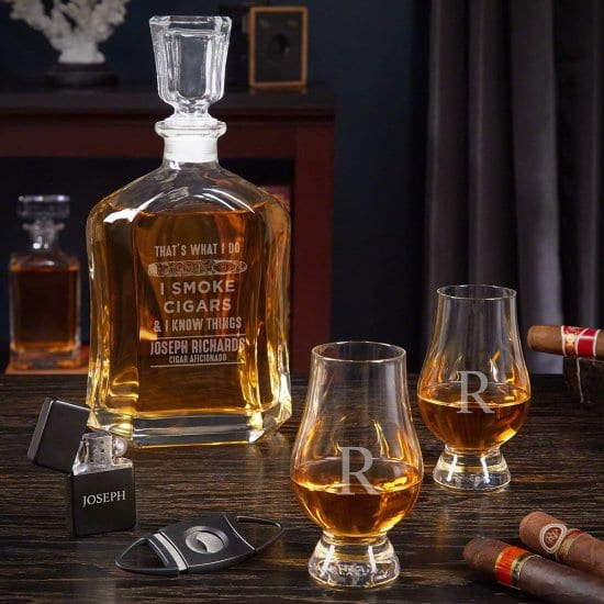 Cigar and Whiskey Decanter Set for 2 Year Anniversary Gifts