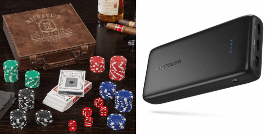 Custom Leather Poker Chip Set and Charger