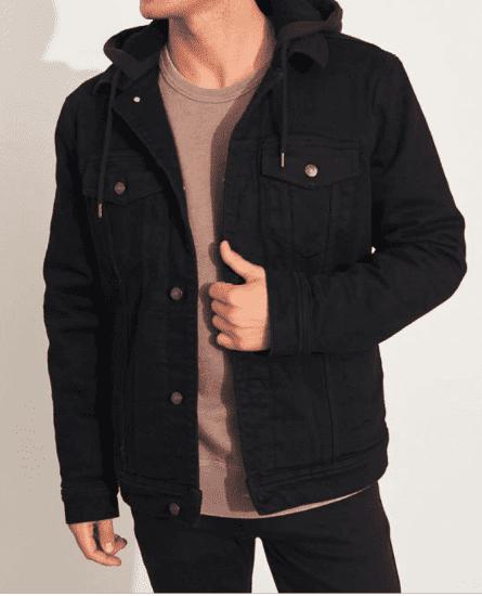 Sherpa Lined Hooded Denim Jacket
