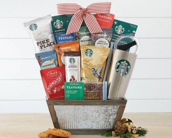 Starbucks Basket Christmas Gift for Neighbors