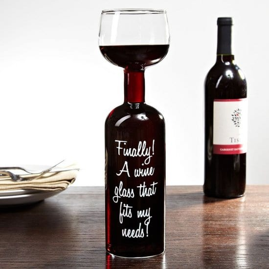 Full Bottle Wine Glass with Quotes