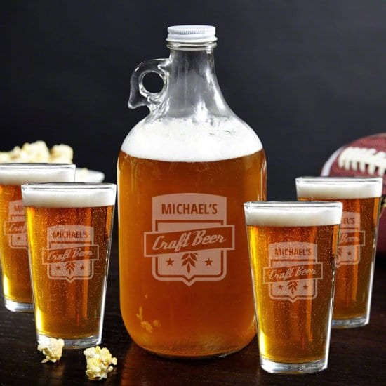 Engraved Glass Growler and Pint Glasses Set