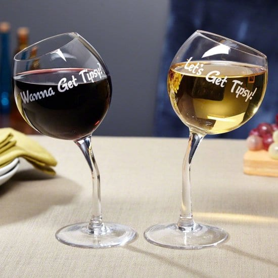 Tipsy Wine Glasses with Quotes