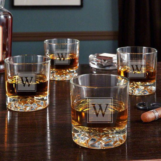 Set of 4 Monogrammed Lowball Glassware