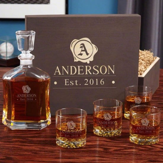 Whiskey Decanter Gift Set with 4 Glasses