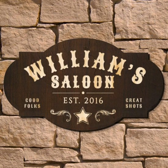 Wood Saloon Sign is a Retirement Gift Idea