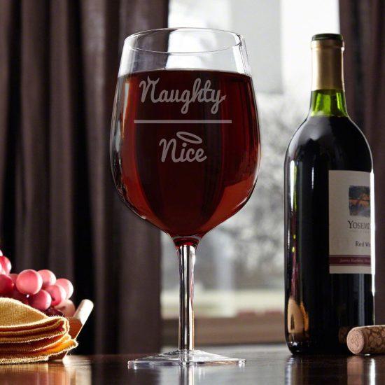 Funny Naughty or Nice Wine Glass