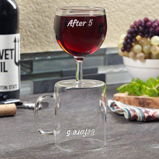 Coffee Mug and Funny Wine Glass