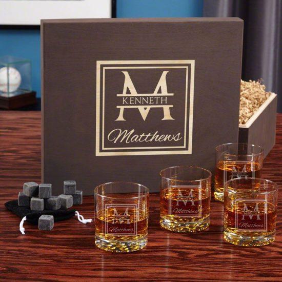 Custom Whiskey Stones and Four Glasses Gift Set for Men
