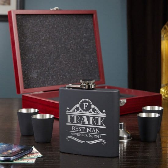 Engraved Flask Gift Set with Shot Glasses