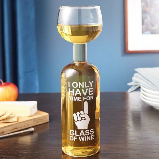 One Glass Funny Wine Glass Quote