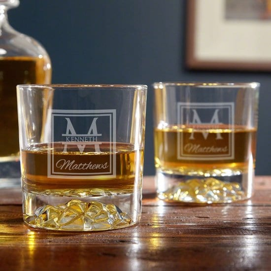 Pair of Engraved Whiskey Glasses