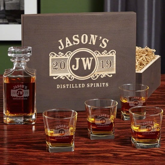Whiskey Decanter and Set of 4 Glasses Gifts for Parents Christmas