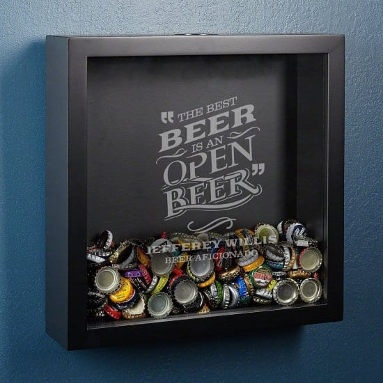 Bottle Cap Shadow Box Unique Gift for Guys