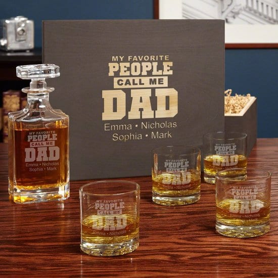 Engraved Whiskey Glassware Set for Dads