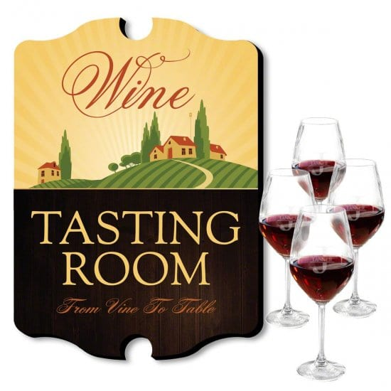 Tasting Room Sign with Glasses Wine Gift Set
