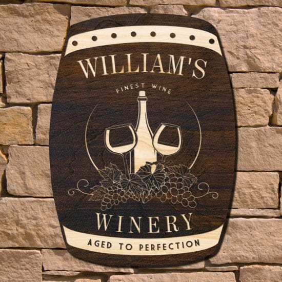 Wooden Wine Barrel Sign Gift for Wine Lovers