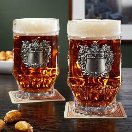 Glass Beer Steins Pair