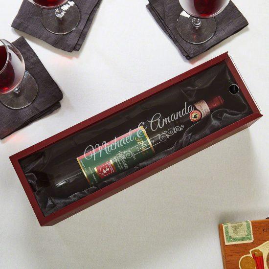 Engraved Wine Bottle Gift Box Gift for Wine Lovers