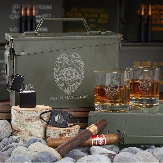 Personalized Ammo Can Whiskey Gift Set