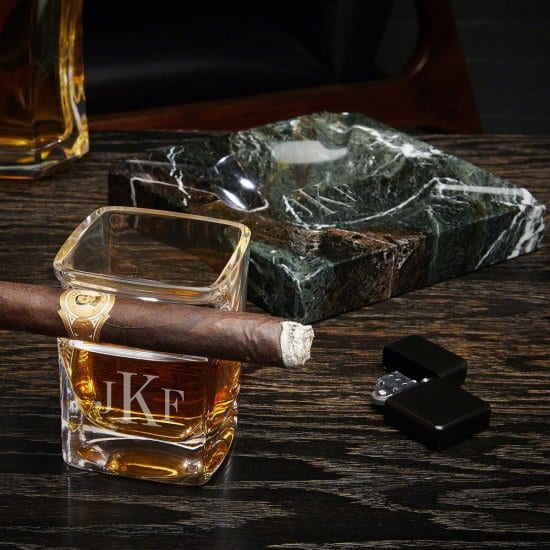 Monogrammed Cigar Whiskey Glass and Marble Ashtray