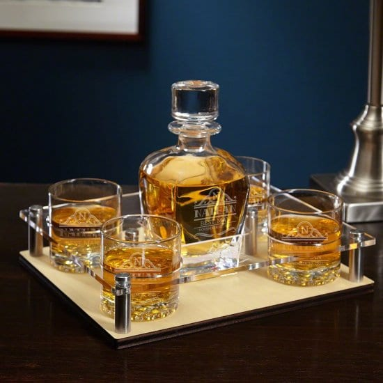 Engraved Whiskey Tray Decanter Set with Four Glasses