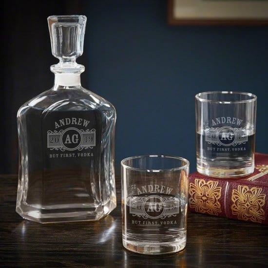 Personalized Vodka Decanter with Rocks Glasses