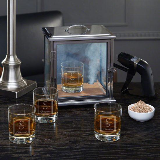 Custom Whiskey Glasses and Smoke Box