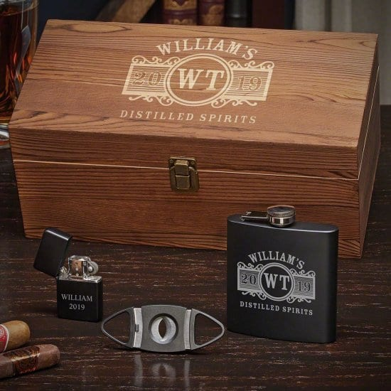 Engraved Flask and Cigar Accessory Gift Set