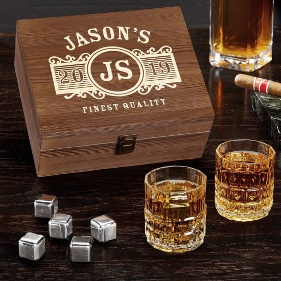Engraved Box Set of Crystal Glasses and Stones
